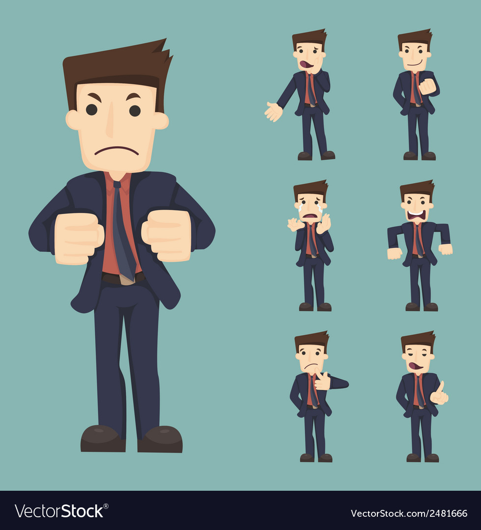Set of businessman characters poses  eps10 vector | Price: 1 Credit (USD $1)