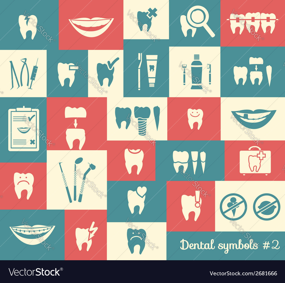Set of dentistry symbols part 2 vector | Price: 1 Credit (USD $1)