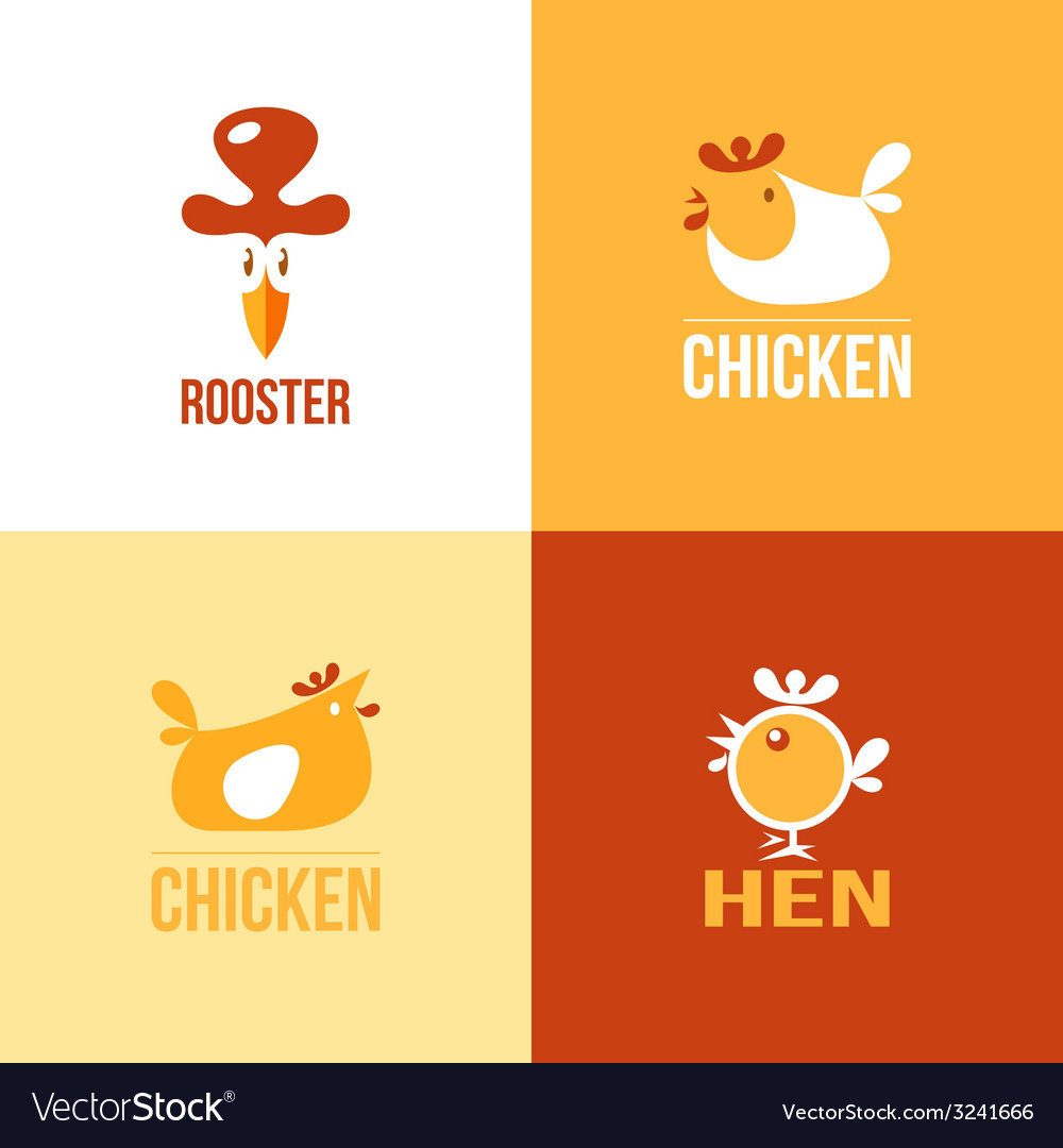 Set of signs and symbols chicken vector | Price: 1 Credit (USD $1)