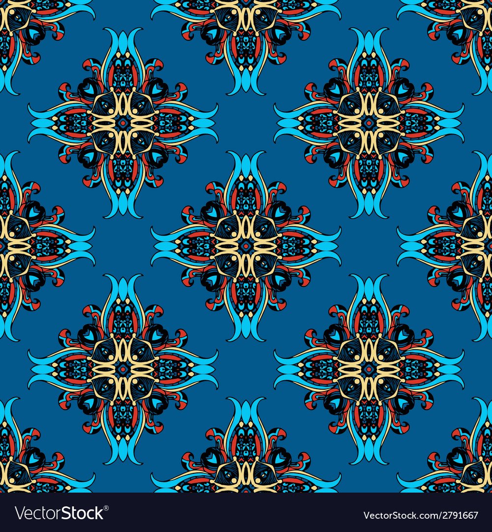 Blue abstract seamless tiled design vector | Price: 1 Credit (USD $1)