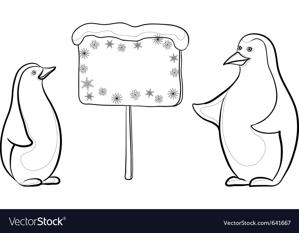Emperor penguins with sign vector | Price: 1 Credit (USD $1)