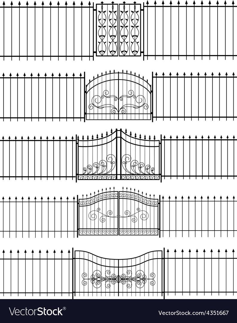 Gates and iron fence horizontal seamless vector