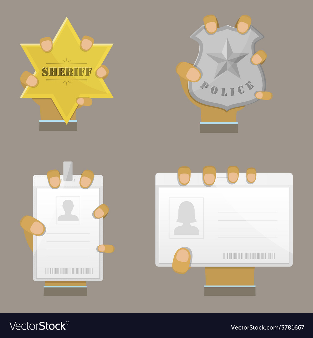 Mans hand holding different badges vector | Price: 1 Credit (USD $1)