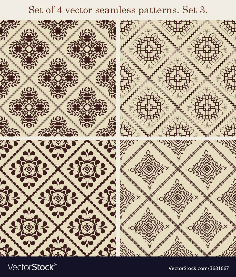 Set of 4 vintage seamless patternsset 3 vector | Price: 1 Credit (USD $1)