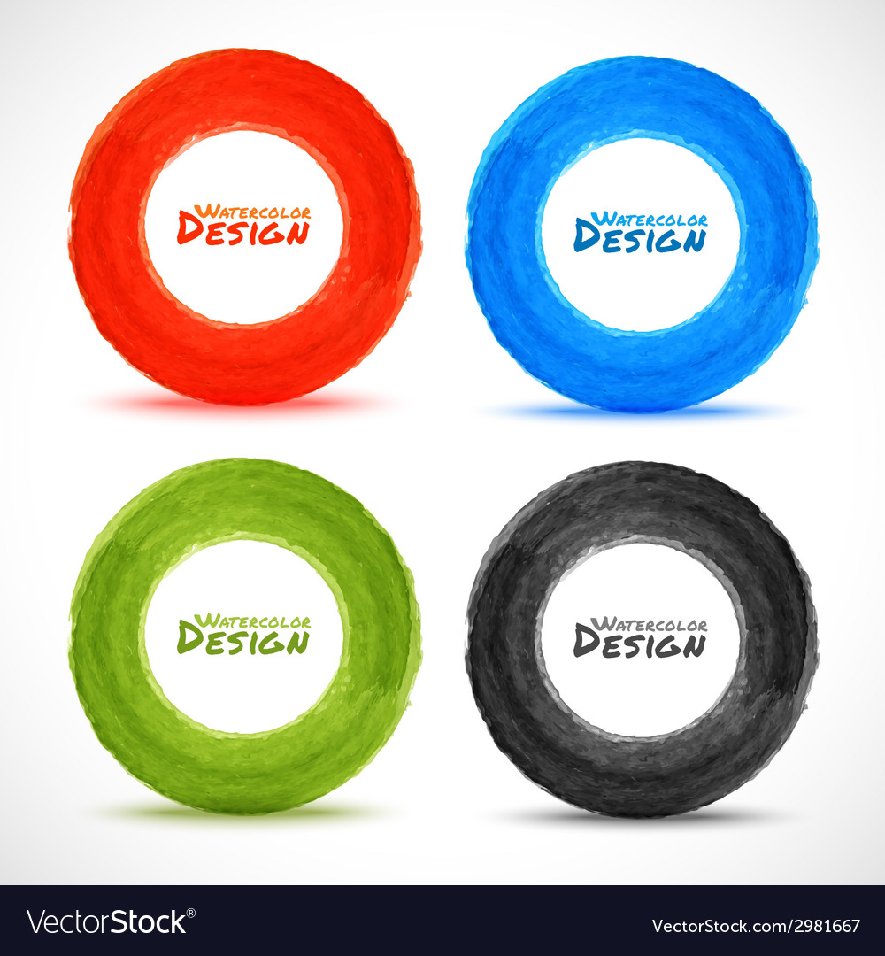 Set of hand drawn watercolor circles vector | Price: 1 Credit (USD $1)