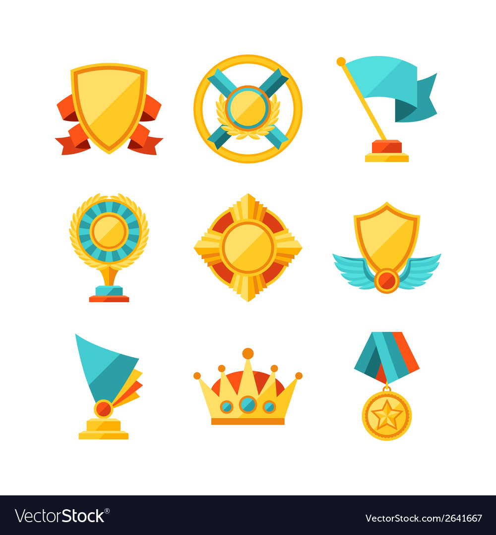 Trophy and awards icons set in flat design style vector | Price: 1 Credit (USD $1)