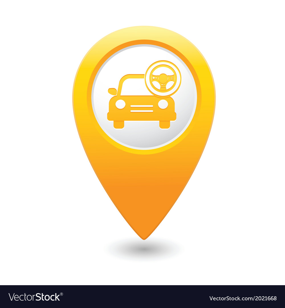 Car with rudder icon map pointer yellow vector | Price: 1 Credit (USD $1)
