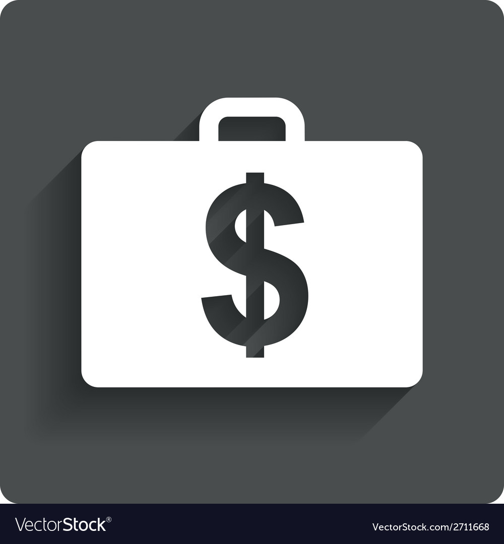 Case with dollars usd sign briefcase button vector | Price: 1 Credit (USD $1)