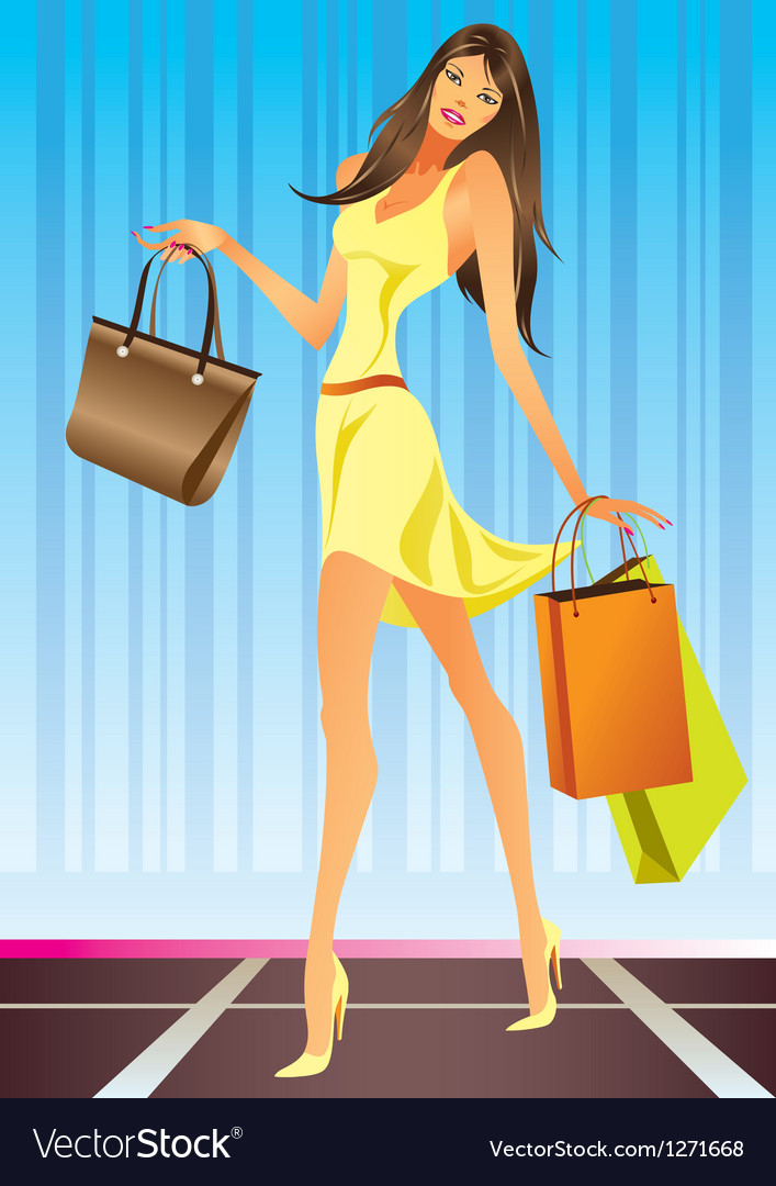 Fashion shopping girl with bags vector | Price: 3 Credit (USD $3)