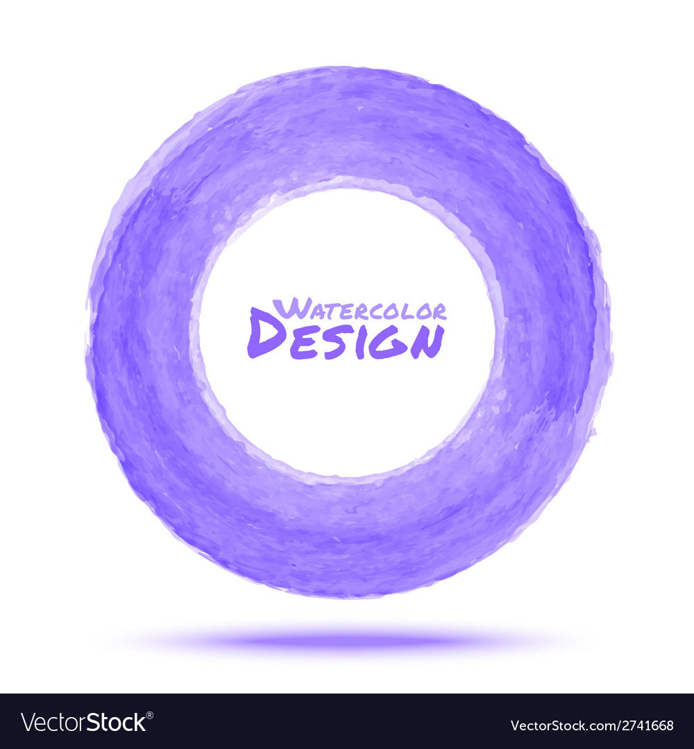 Hand drawn watercolor light violet circle design e vector | Price: 1 Credit (USD $1)