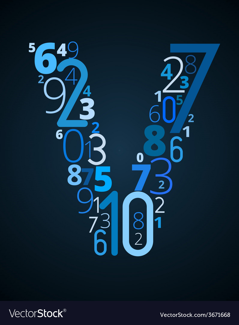 Letter v font from numbers vector | Price: 1 Credit (USD $1)