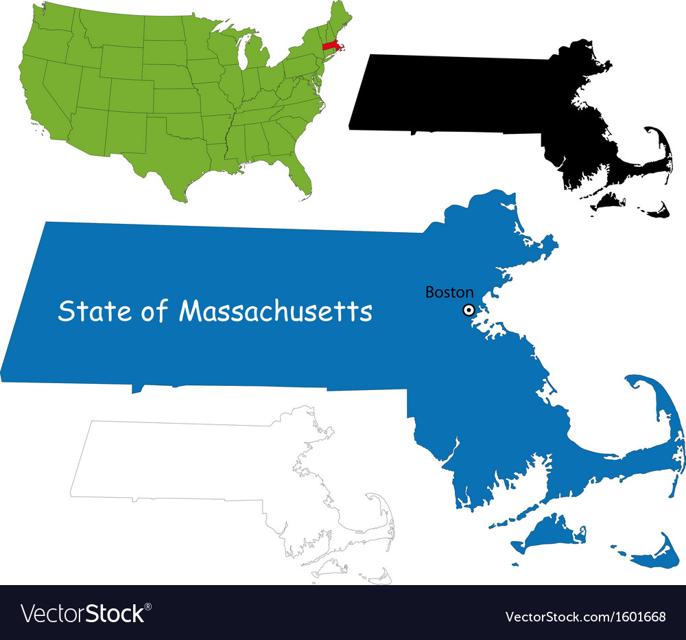 Massachusetts map vector | Price: 1 Credit (USD $1)