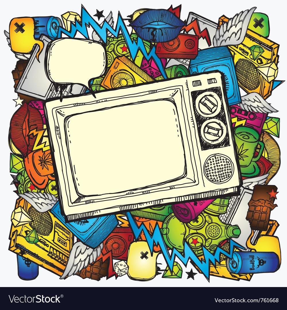 Retro tv background vector | Price: 1 Credit (USD $1)