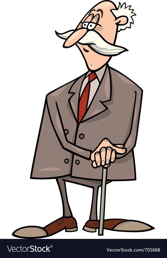 Senior businessman with cane vector | Price: 1 Credit (USD $1)