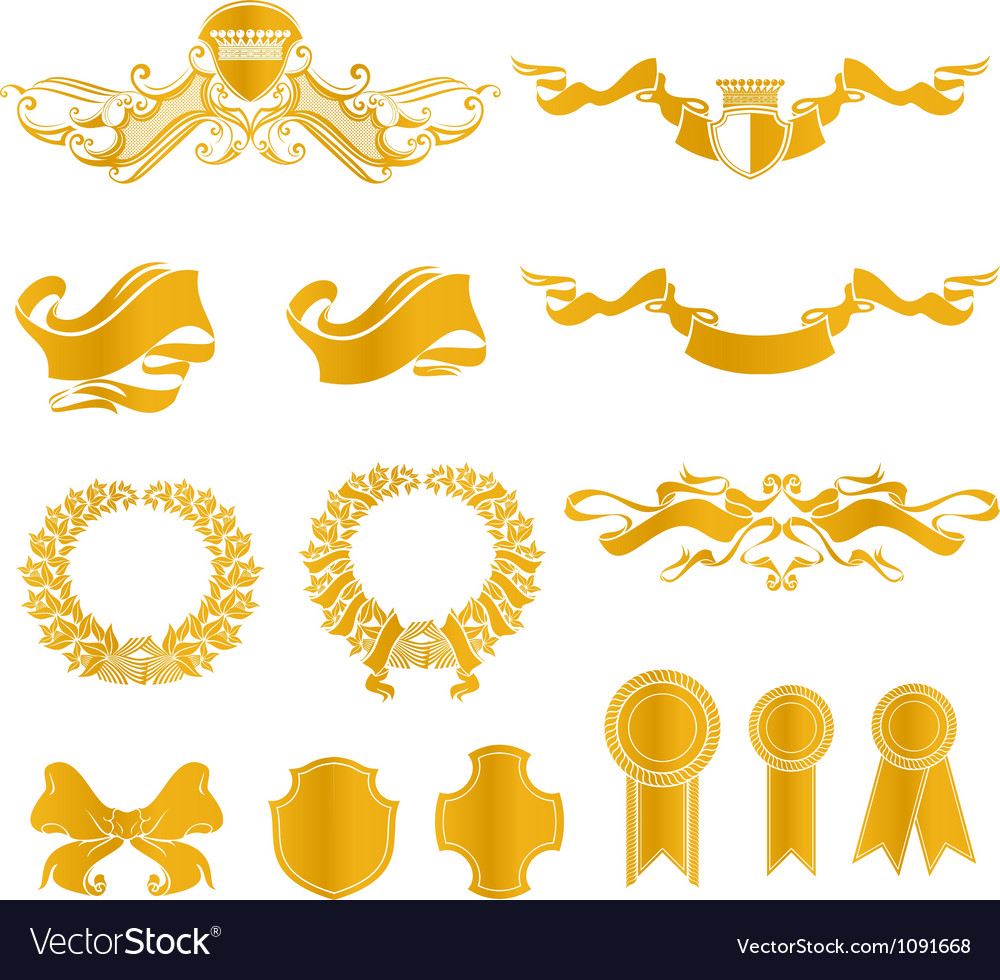 Set of heraldic elements vector | Price: 1 Credit (USD $1)