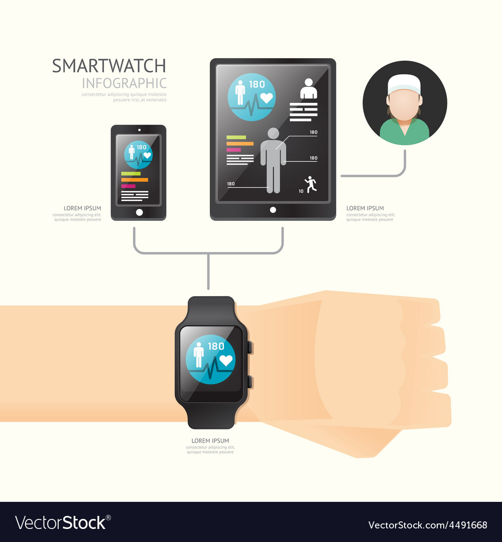 Smartwatch infographic with icons time line techno vector | Price: 1 Credit (USD $1)