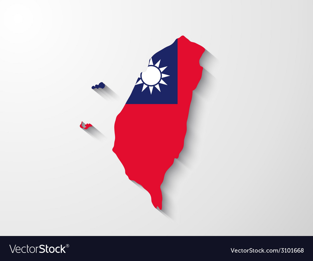 Taiwan map with shadow effect vector | Price: 1 Credit (USD $1)