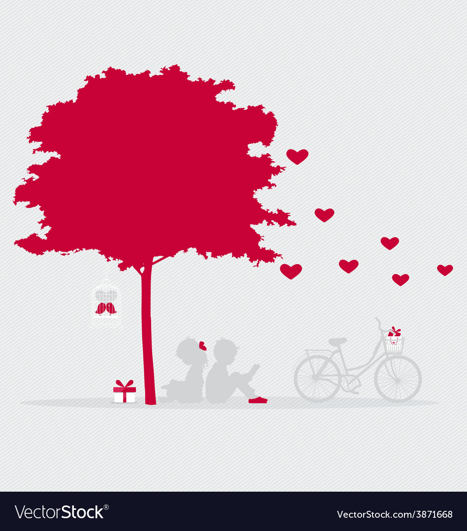 Valentine background with children read a book vector | Price: 1 Credit (USD $1)