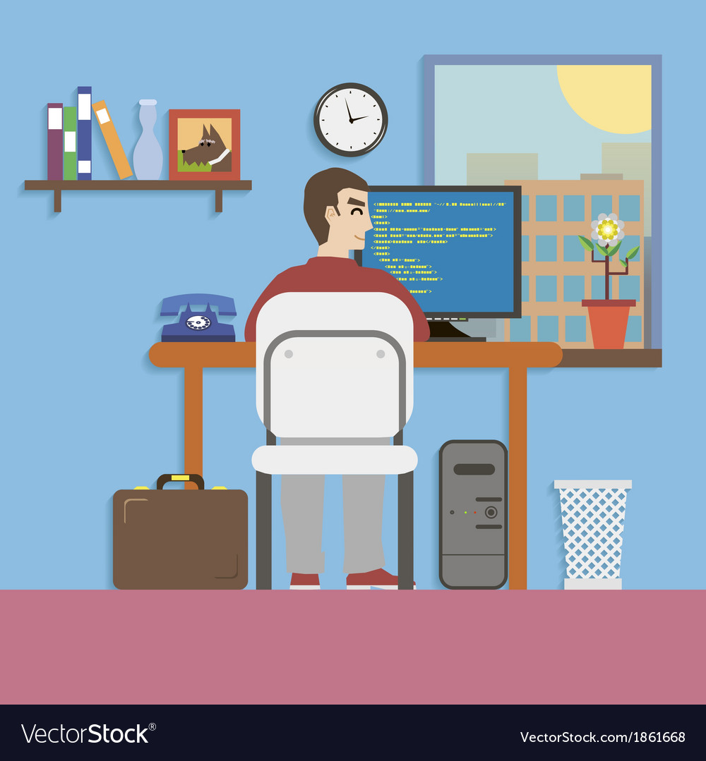 Workplace room with programmer and website code in vector | Price: 1 Credit (USD $1)