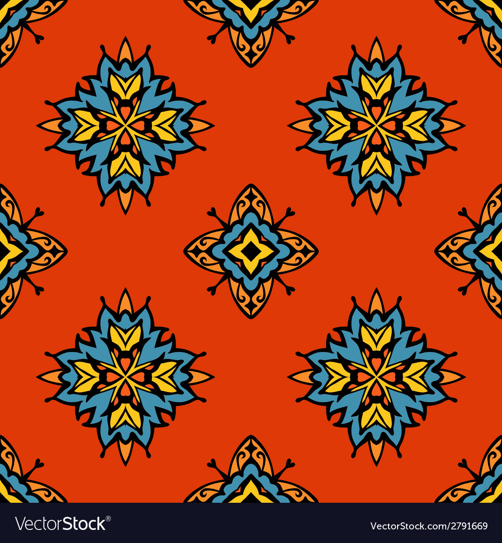 Abstract tribal seamless tiled design vector | Price: 1 Credit (USD $1)