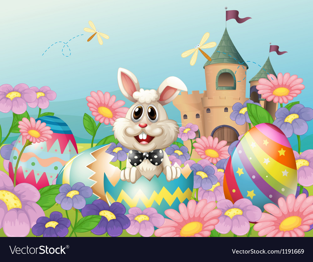 An easter bunny in the garden near the castle vector | Price: 1 Credit (USD $1)