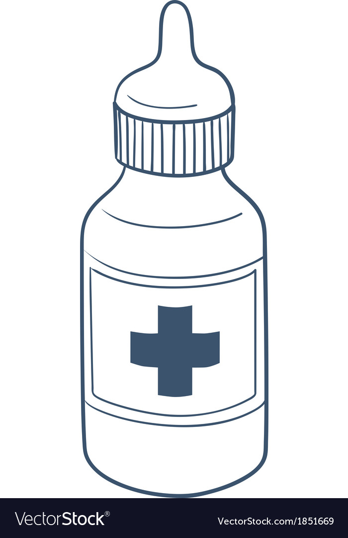 Bottle with drops or liquid drug isolated on white vector   Price: 1 Credit (USD $1)