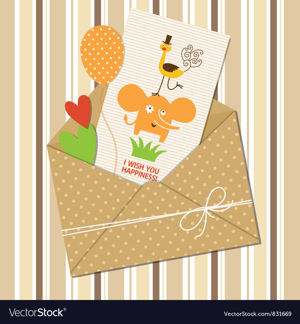 Cute children greeting card vector | Price: 3 Credit (USD $3)