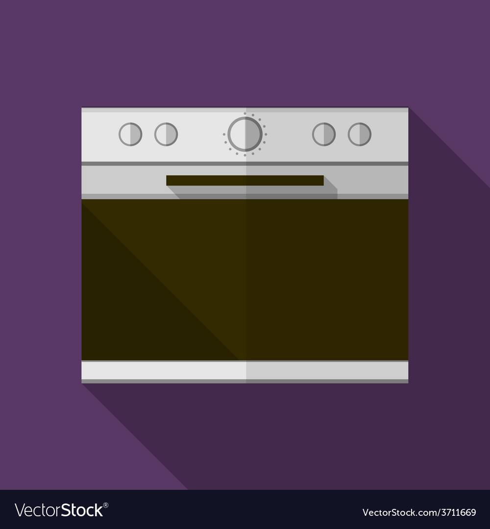 Gray stove flat icon vector | Price: 1 Credit (USD $1)