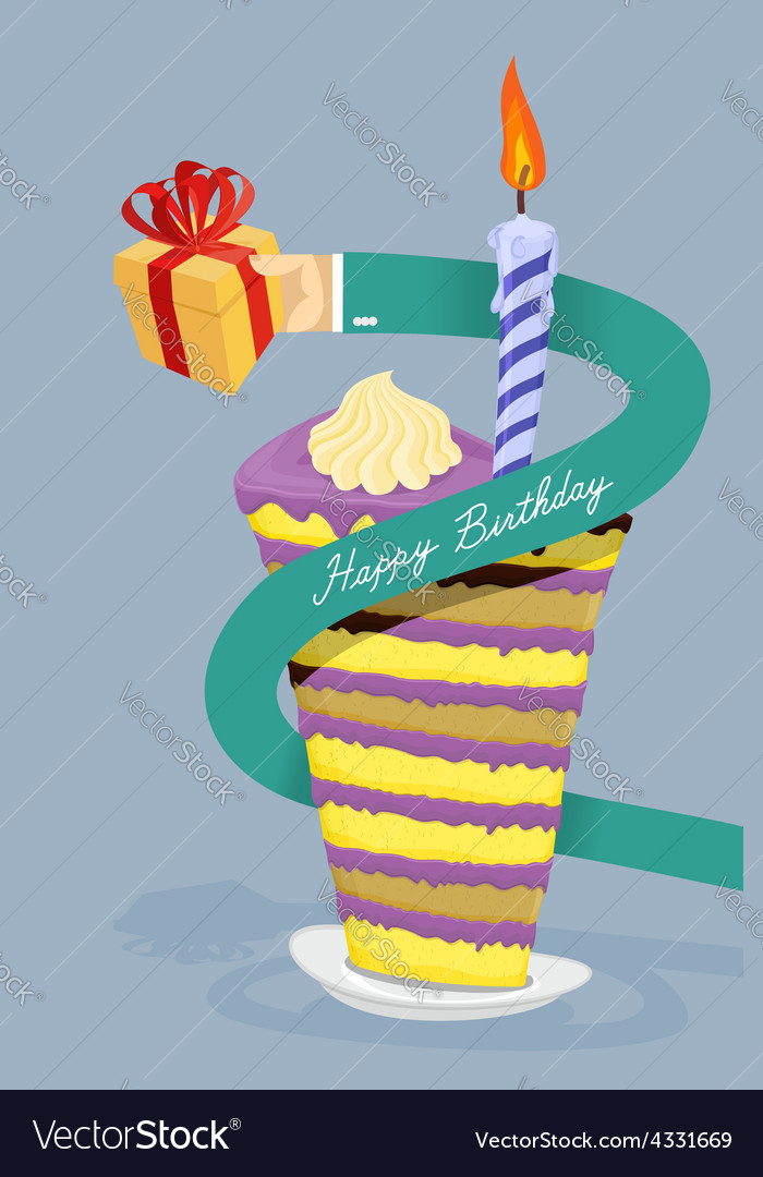 Happy birthday card hand gives gift long arm vector   Price: 1 Credit (USD $1)