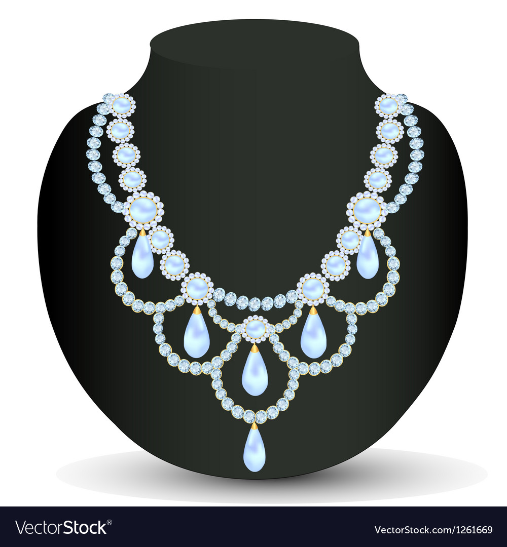 Necklace women for marriage with pearls vector | Price: 1 Credit (USD $1)