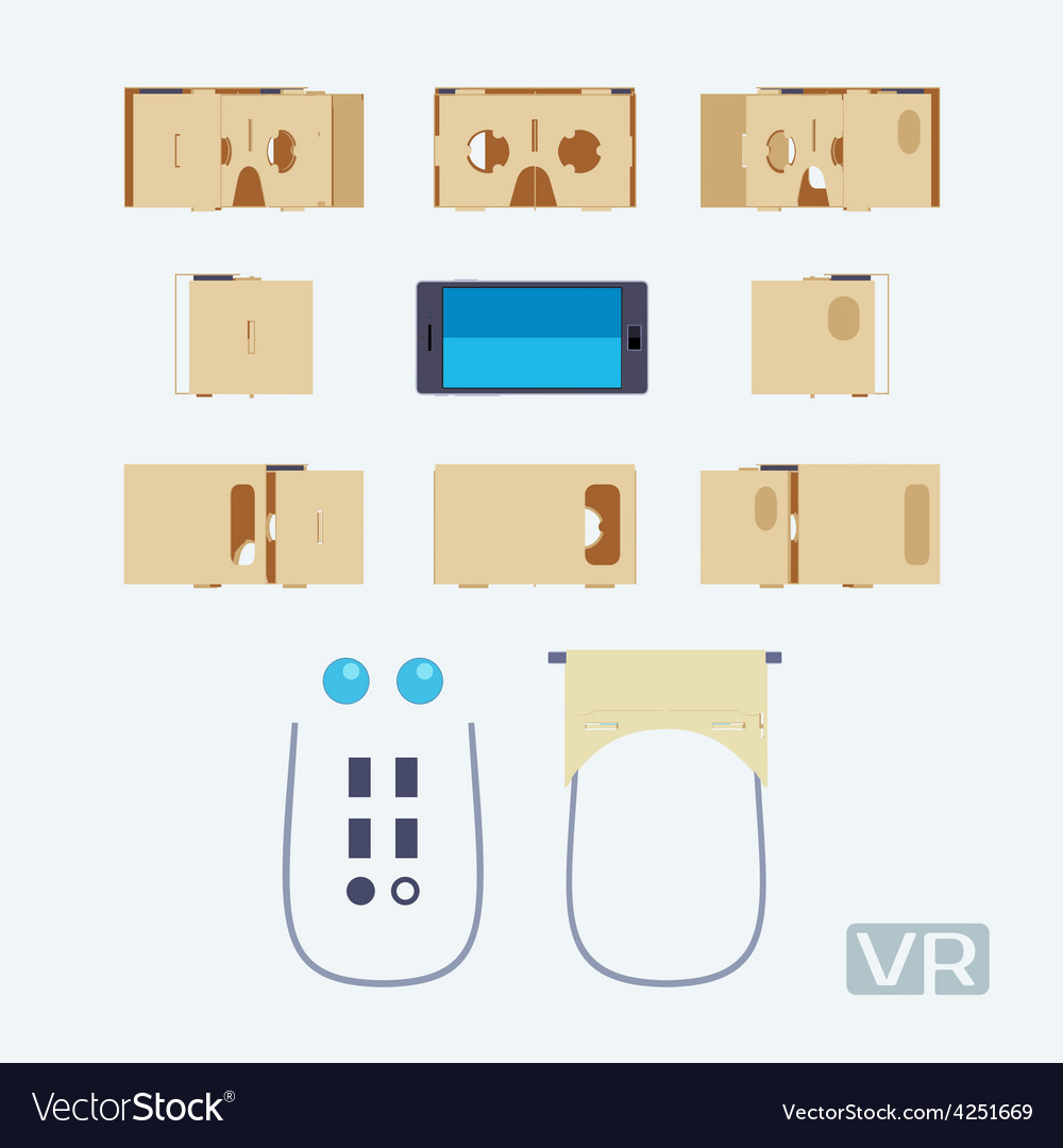 Parts of the cardboard virtual reality headset vector | Price: 1 Credit (USD $1)