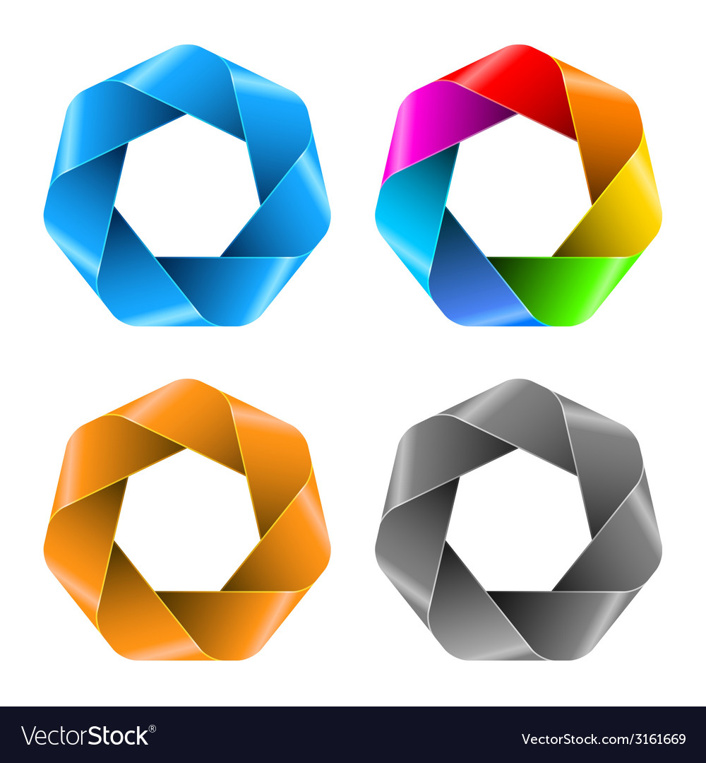 Set of colorful abstract polygon icons vector | Price: 1 Credit (USD $1)