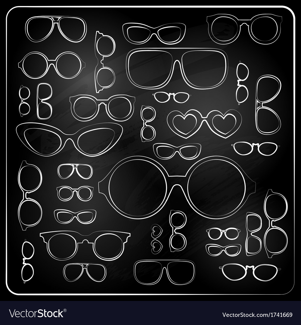 Vitnage set from chalk glasses vector | Price: 1 Credit (USD $1)
