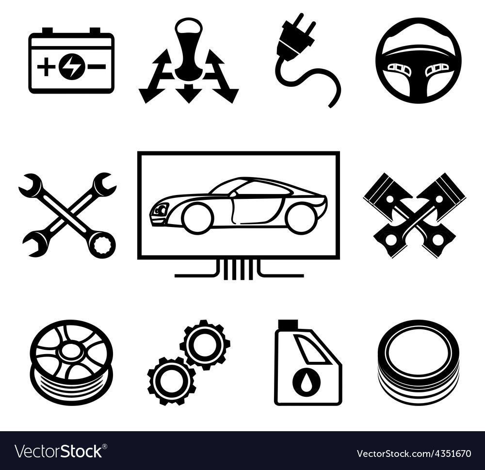 Car maintenance or service icons vector | Price: 1 Credit (USD $1)