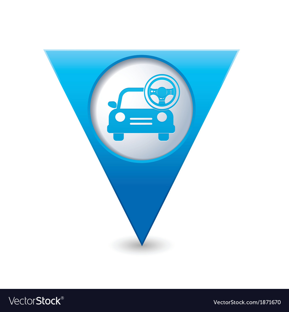 Car with rudder icon map pointer blue vector | Price: 1 Credit (USD $1)