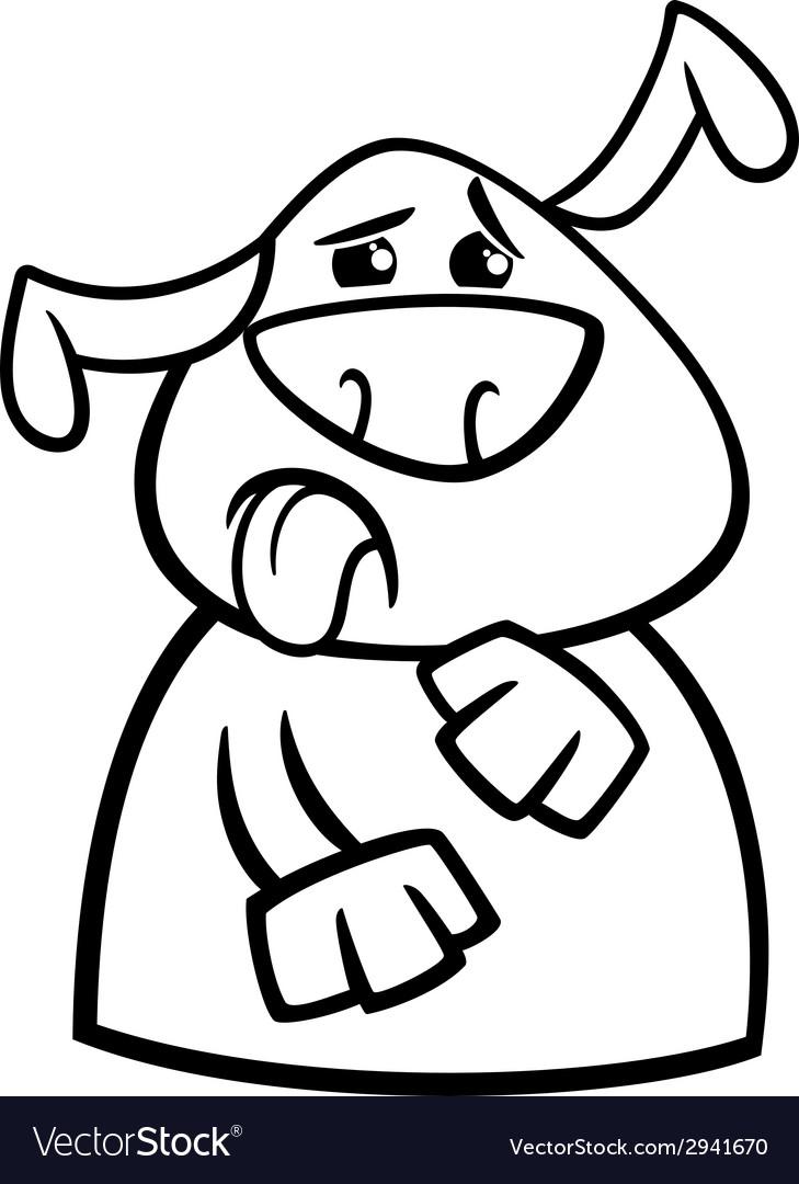 Dog yuck face cartoon coloring page vector | Price: 1 Credit (USD $1)