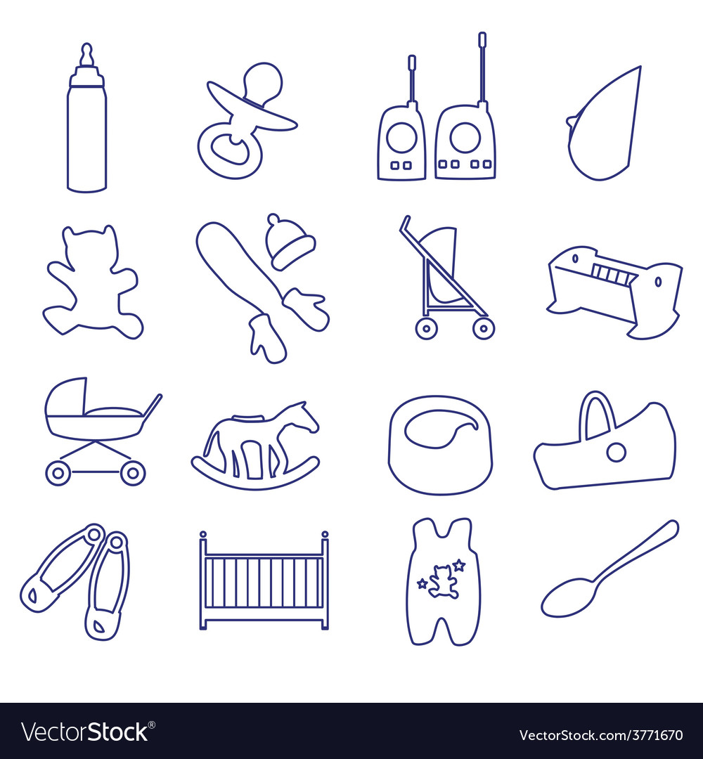 Equipment for baby outline icons set ps10 vector | Price: 1 Credit (USD $1)