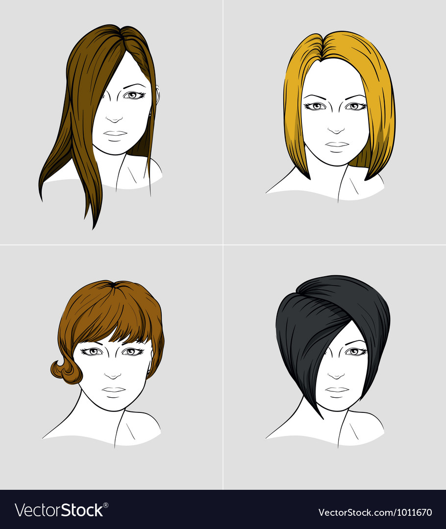 Faces of four women with different hair styles vector | Price: 3 Credit (USD $3)