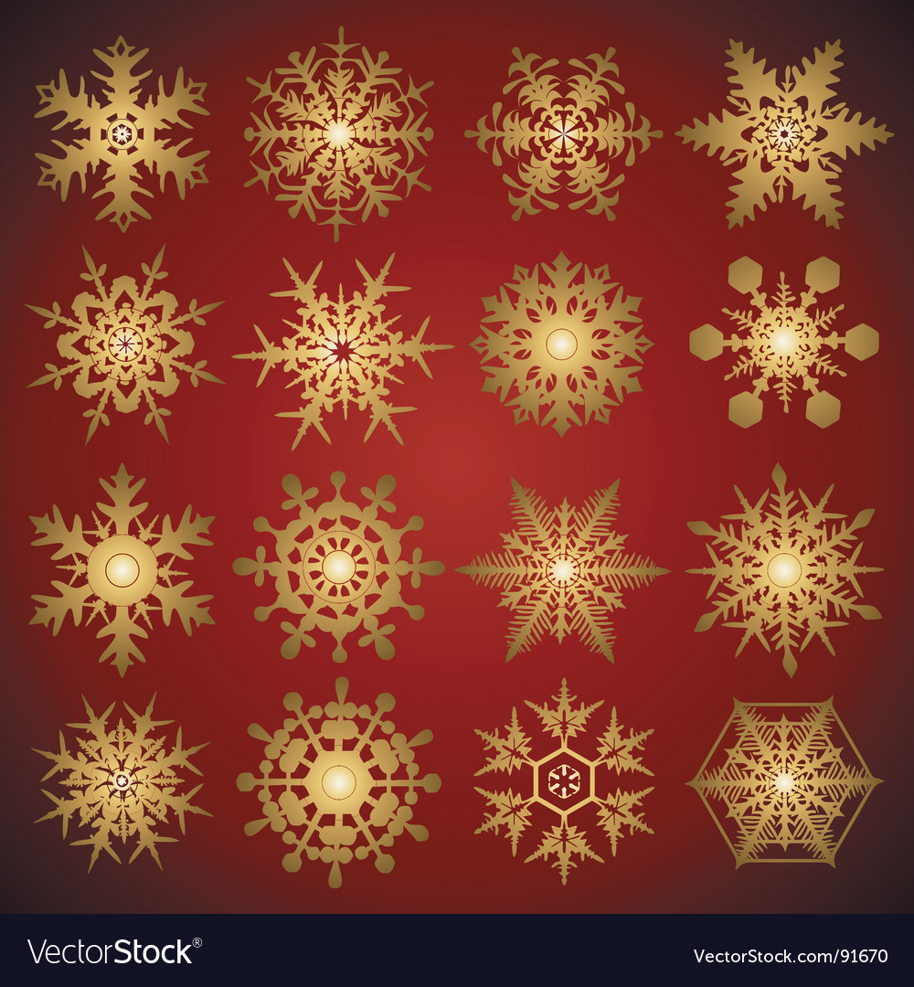 Gold crystal snowflakes vector | Price: 1 Credit (USD $1)