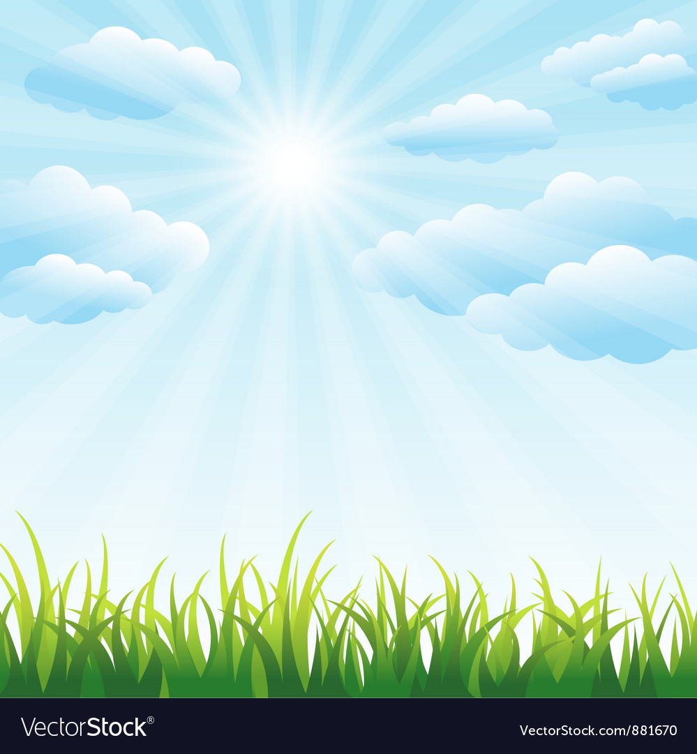Green grass field and blue sky vector | Price: 1 Credit (USD $1)