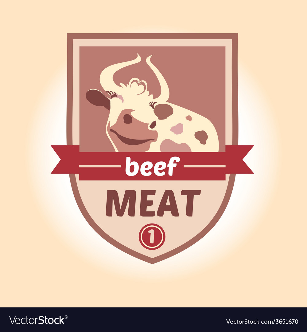 Logo with the image of a cow meat products vector   Price: 1 Credit (USD $1)