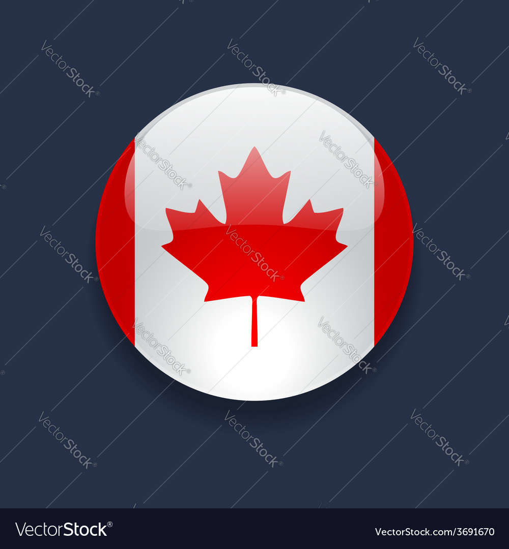 Round icon with flag of canada vector | Price: 1 Credit (USD $1)