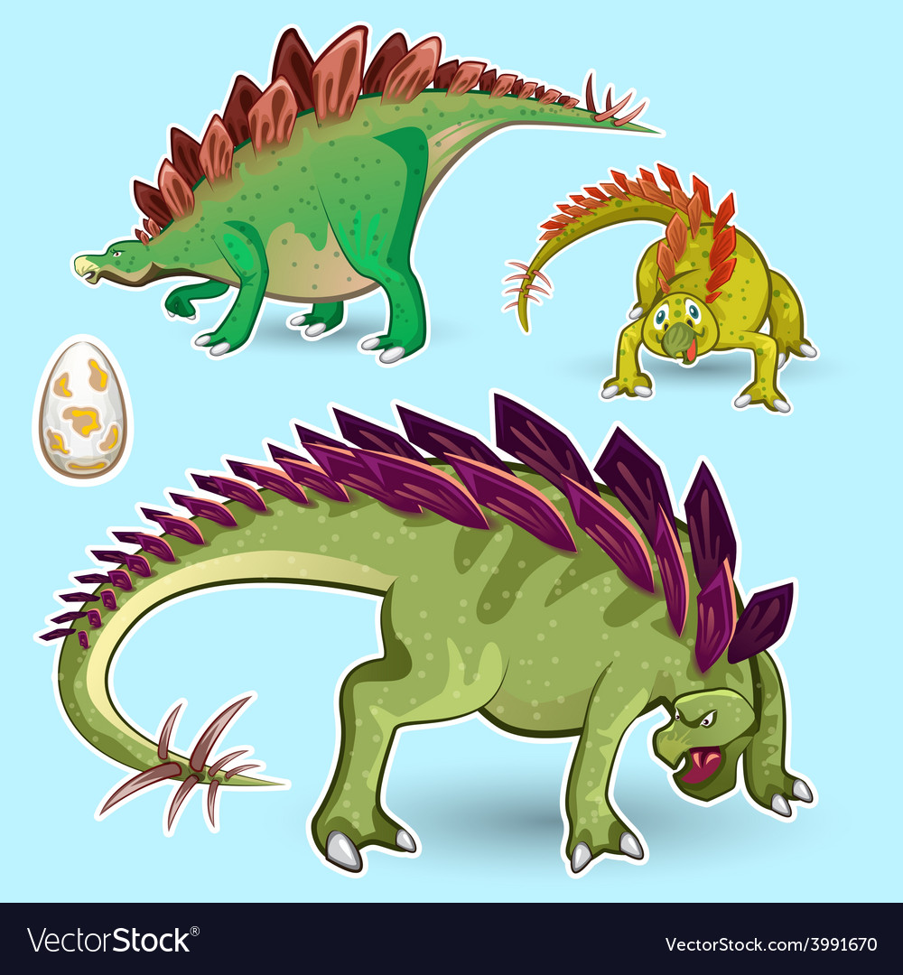 Stegosaurus dinosaurs sticker collection set vector | Price: 3 Credit (USD $3)
