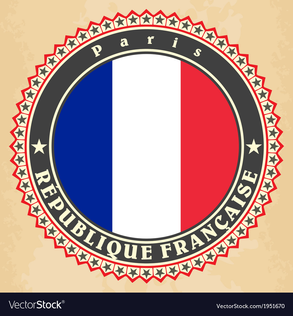 Vintage label cards of france flag vector | Price: 1 Credit (USD $1)
