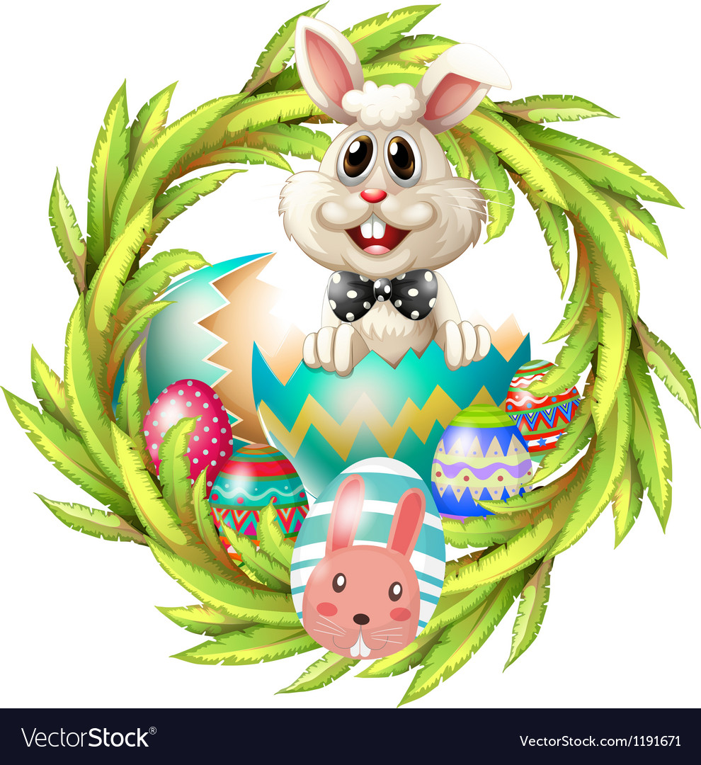 An easter design with a bunny eggs and leafy plant vector | Price: 1 Credit (USD $1)