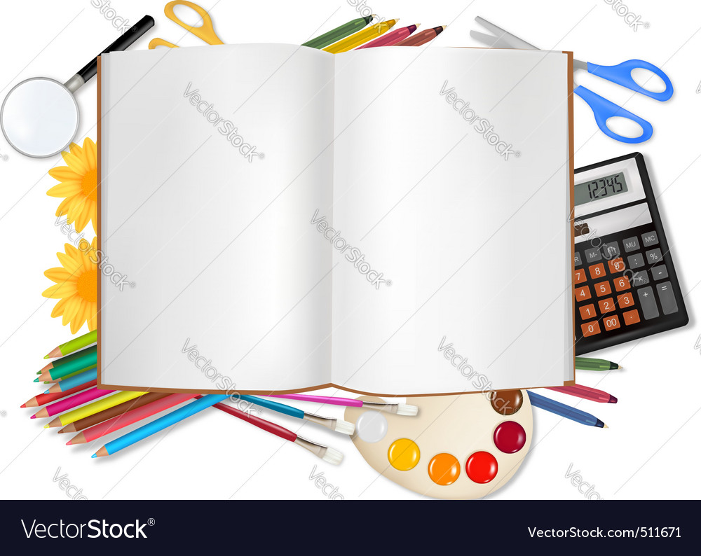 Back to school horizontal set with supplies vector | Price: 3 Credit (USD $3)