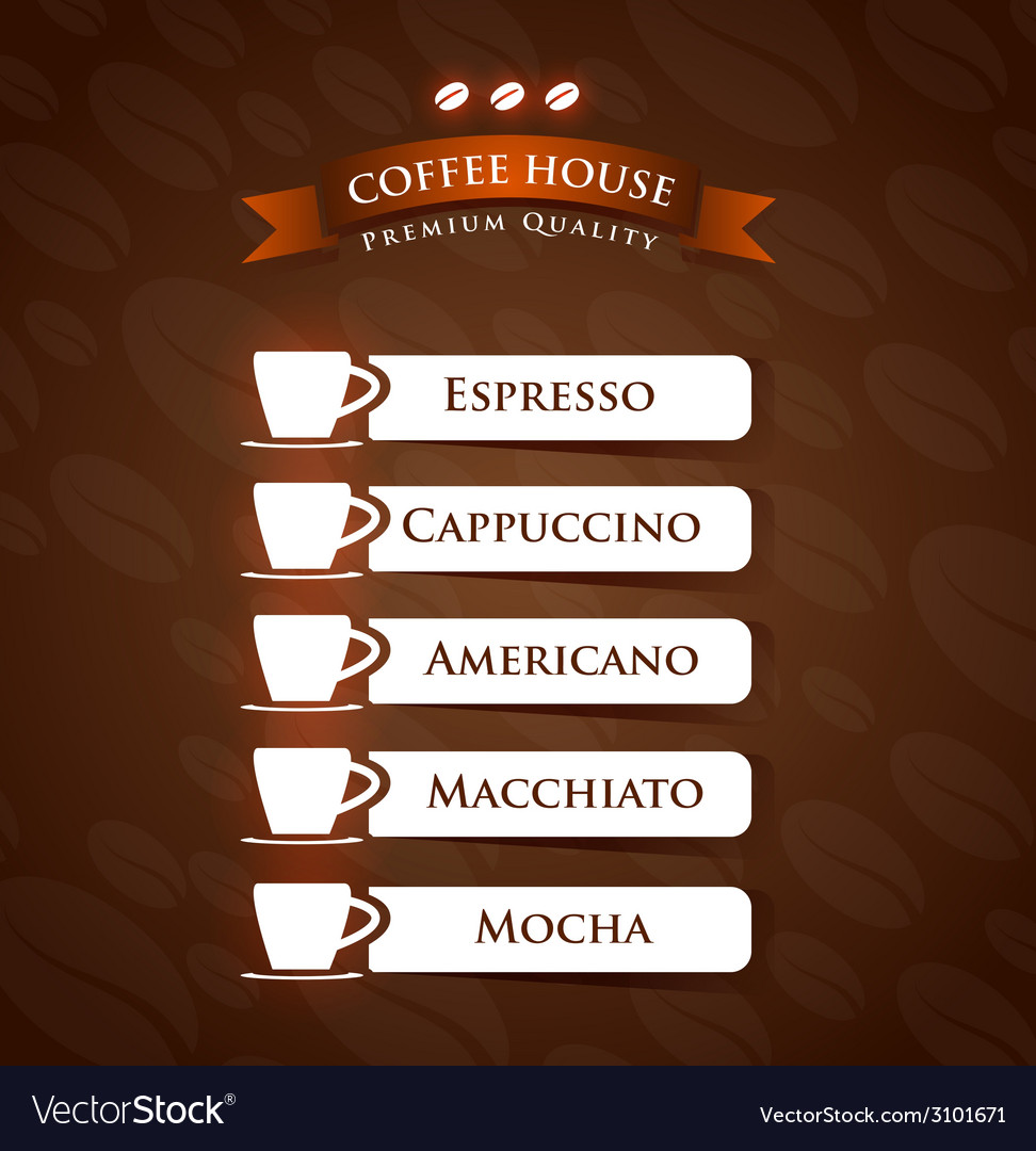Coffee house premium quality menu list designs vector | Price: 1 Credit (USD $1)