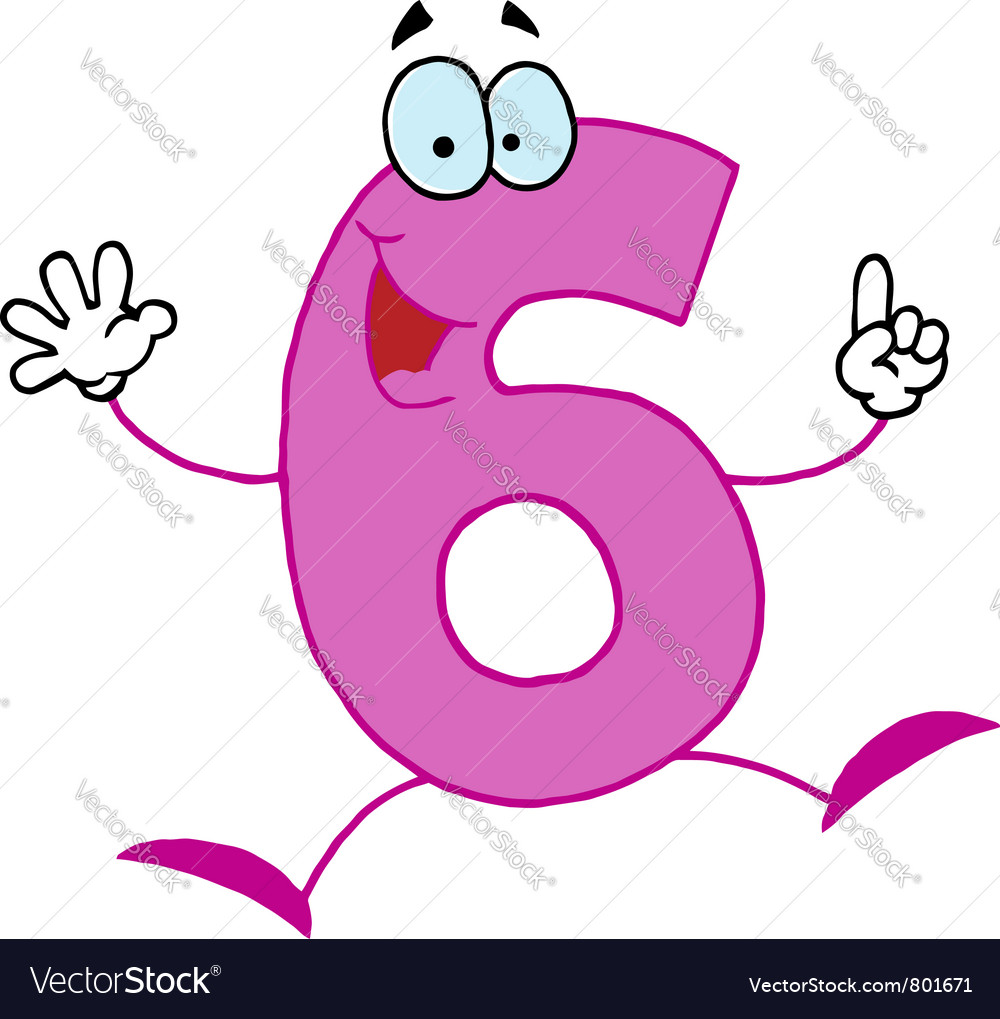 Funny cartoon numbers-6 vector | Price: 1 Credit (USD $1)