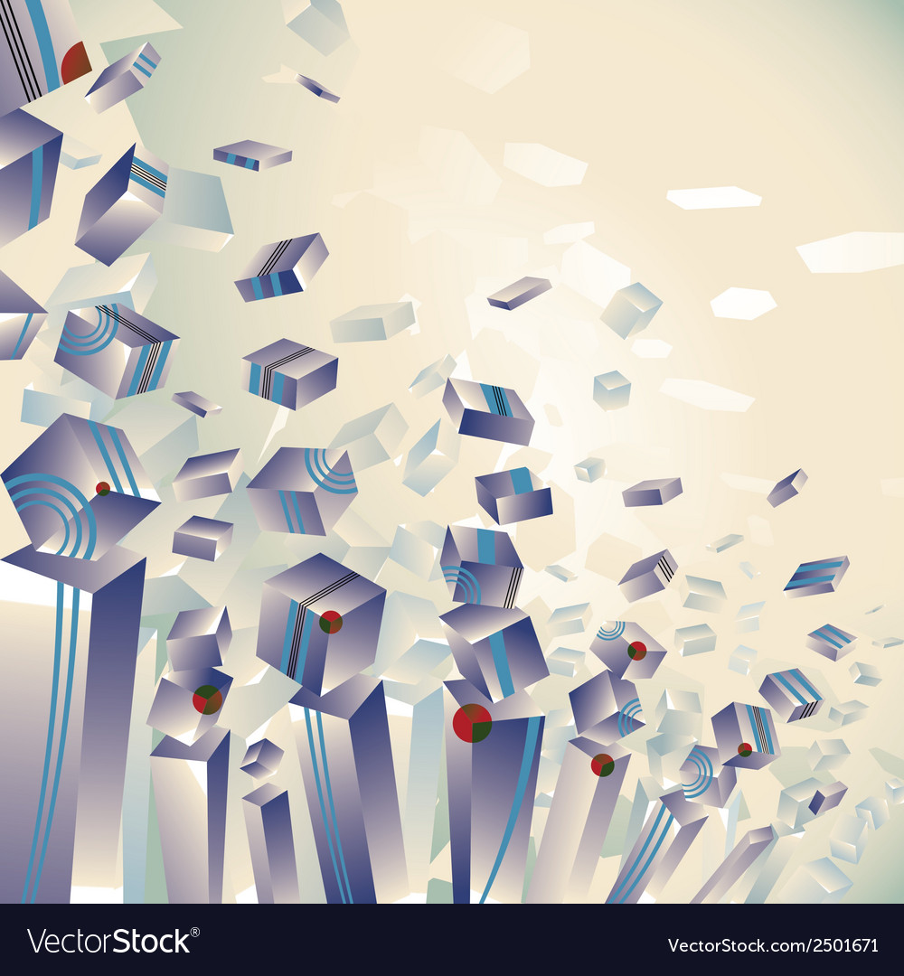 Geometric 3d explosion transparent striped cubes vector | Price: 1 Credit (USD $1)