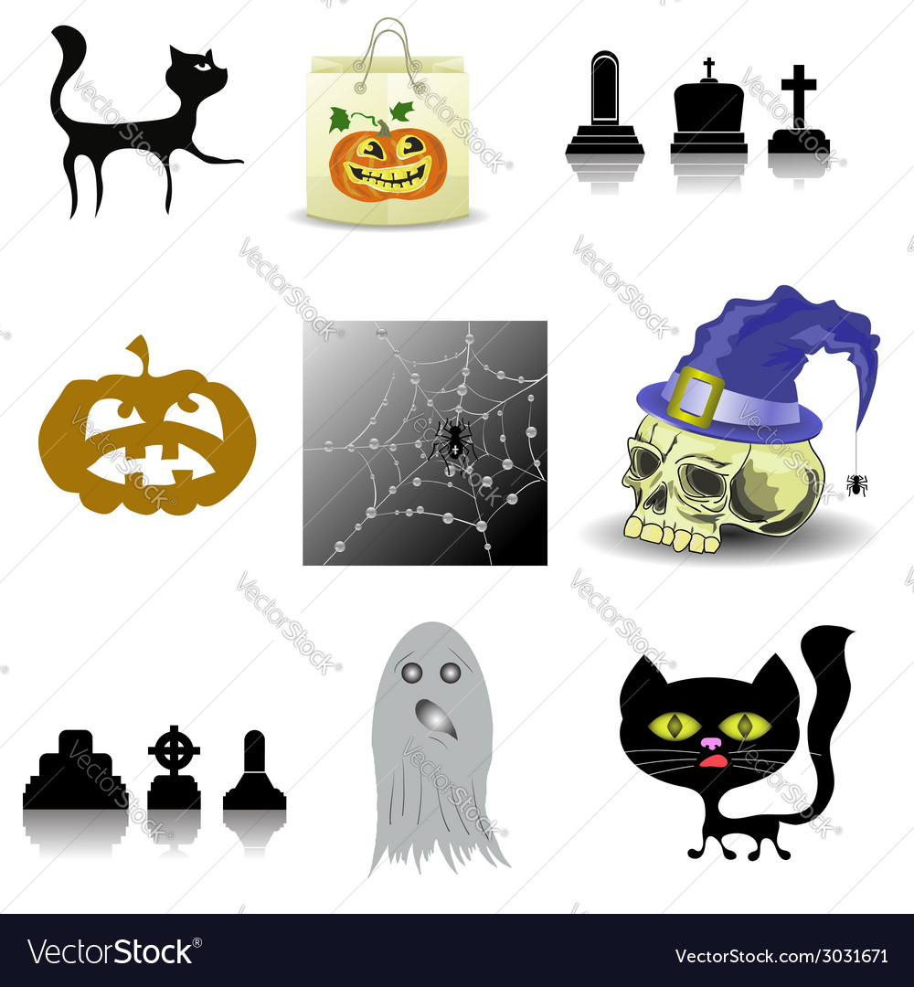 Halloween decoration set vector | Price: 1 Credit (USD $1)